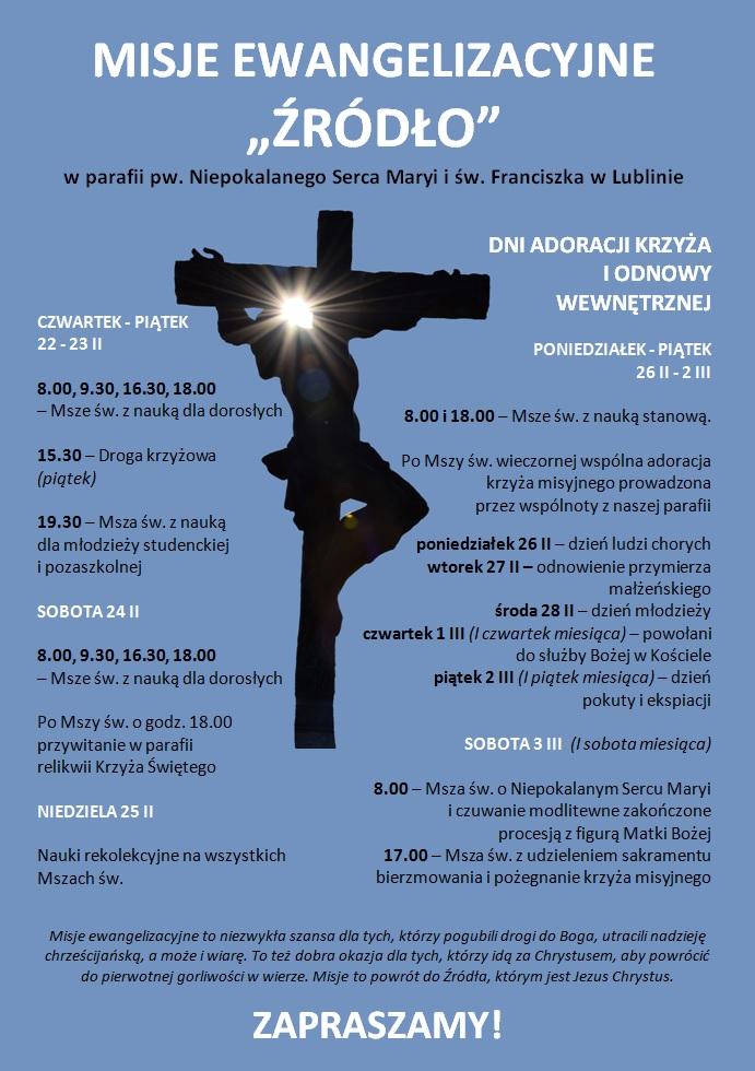 Misje Ewangelizacyjne ŹRÓDŁO w naszej parafii - zapraszamy !!!